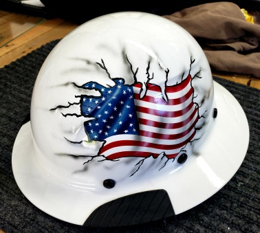 USA flag breakout on hardhat
