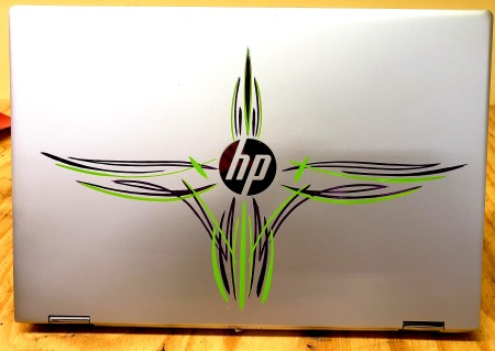 Laptop PC pinstriped
