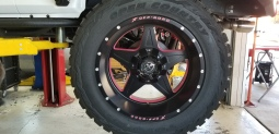 Jeep Rims. Indent lettering filled with Pink Paint