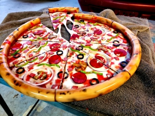 Metal Sculpture Pizza Airbrushed to look real