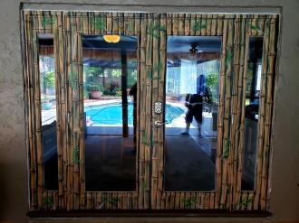 airbrushed Bamboo design on french patio doors