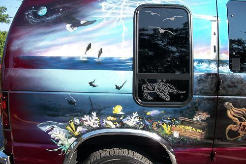 Under sea mural on van