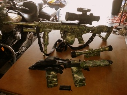 Airbrushed woodsy military type camo on AR15