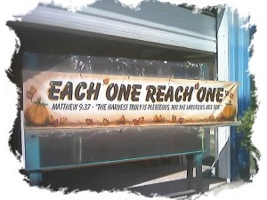Airbrushed lettering and art on banner