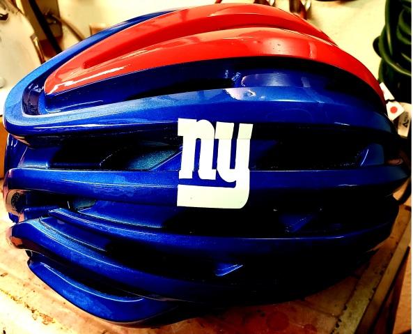 Bike Helmet painted like NY Giants theme