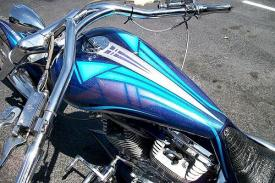Custom paint and graphics on chopper