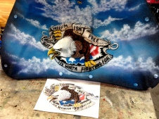 Interior trunk fabric cover airbrushed with USA Theme