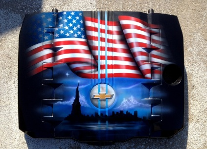Airbrushed Camaro Engine Cover. 9/11 memorial