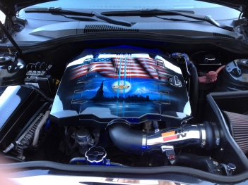 installed-Airbrushed Camaro Engine Cover. 9/11 memorial