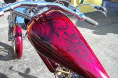 Airbrushed skulls in candy on chopper tank