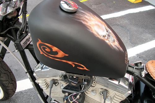 Rat bike. Airbrushed skull and tribal design