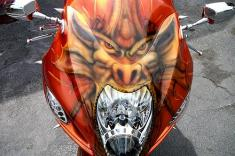Custom paint and airbrushed dragon on bike