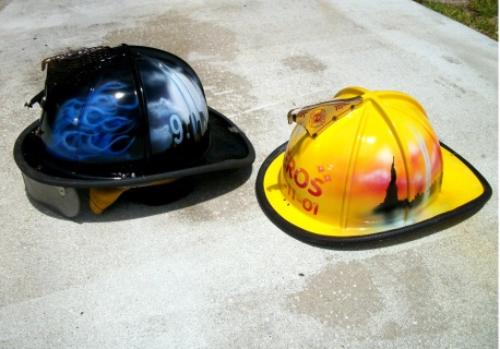 Fire Helmets Airbrushed for Benefit event for 9/11