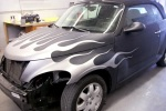 Silver fade flames on PT Cruiser before clear coat