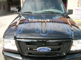 Candy blue flames on pickup truck