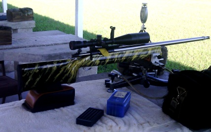 Rifle with gold and black graphics
