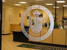 Logo etched on glass at Guldf High School in New Port Richey, Fl