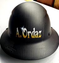 airbrushed name on hardhat