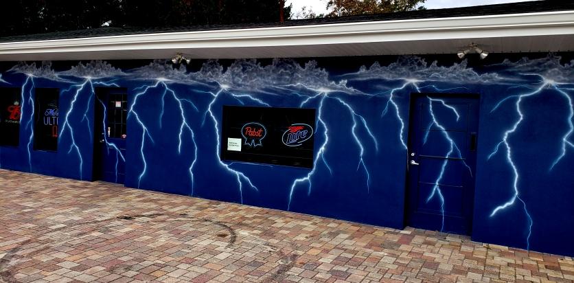 Lightning on Exterior Bar walls