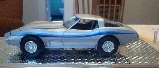 "Small 8"" model corvette with graphics to match customers real car"