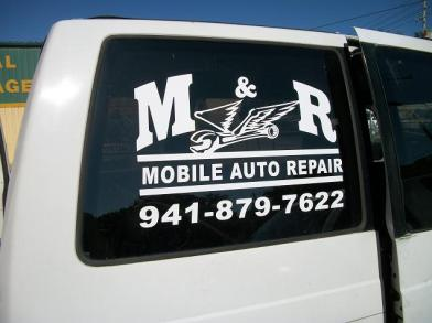 Vinyl Lettering on truck window