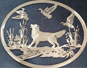 Lazer cut Gate crest before paint