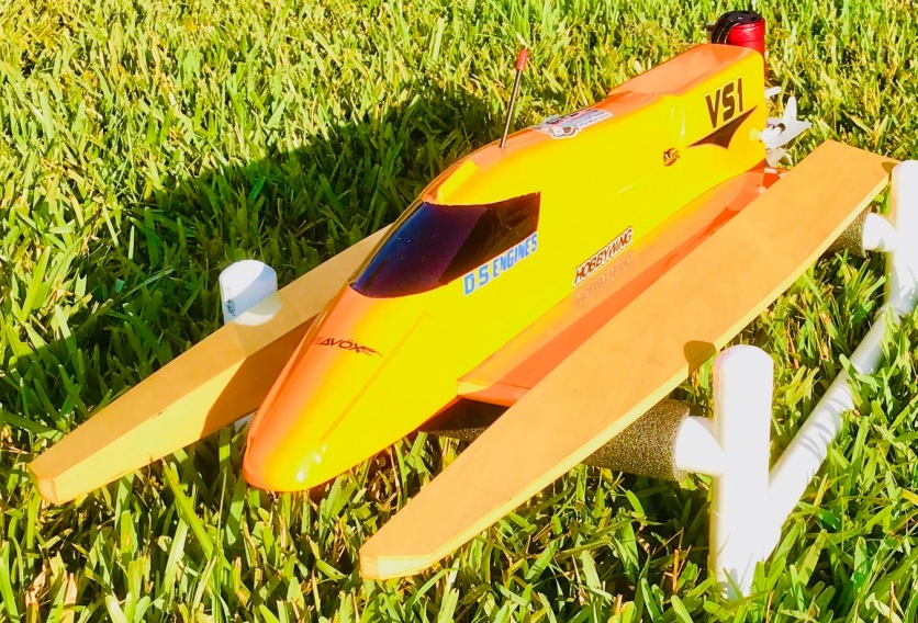 RC Boat, Orange with gold flake