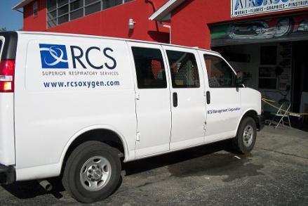 Vinyl Lettering on Company van.