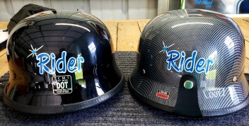 Lettering on helmet