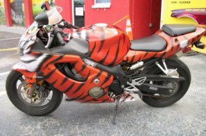 Bike painted like a tiger