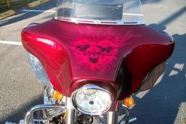 Candy skulls on bike farring