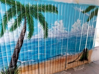 Venetian Blinds Airbrushed for store front