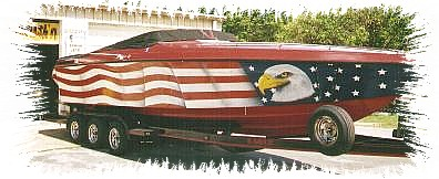 Full blown patriotic theme on race boat