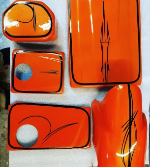 corvette engine parts airbrushed
