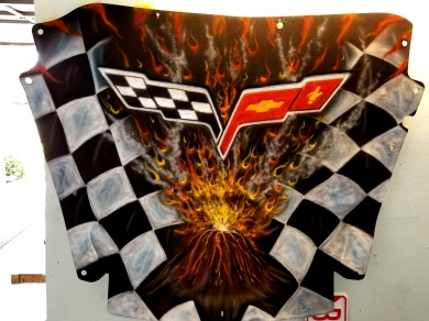Vette Hood Liner/ Volcano and checkers