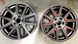 Wheel Indents painted red. Before and after