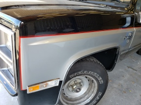 Red Dbl pinstripes on 83 Chevy truck