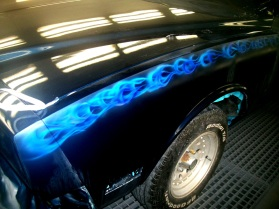 Blue fire on fender of Monte Carlo(before clearcoat)