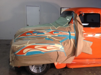 Flames on 54 pickup. Orange yellow red fade silver pinstripe outline.
