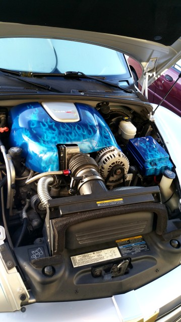 ChevySSR Engine cover - blue true fire over pacific blue pearl base