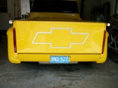 Airbrushed chevy logo/ simulated chrome