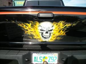 Skull in fire on tailgate
