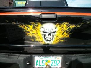 Skull in fire on tailgate