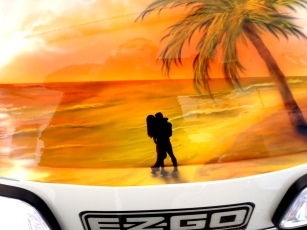 Golf cart hood mural Close up of lovers ( (sorry for my reflection in pic from deep gloss clear.)