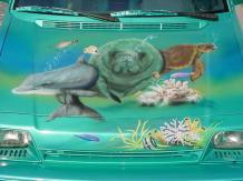 Airbrushed sea life on hood