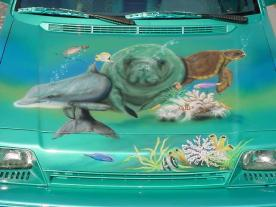 Airbrushed sea life on hood