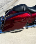 3 tone pinstripes and graphics on Red Candy Harley.