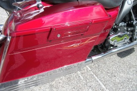 2 tone pinstripes on red Harley
