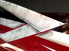 close up airbrushed rivits metal look