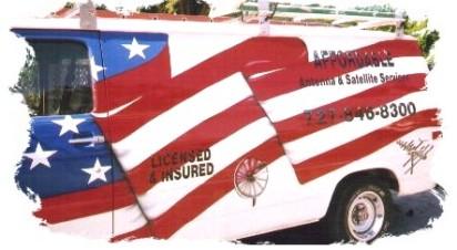 USA Flag graphics on work van